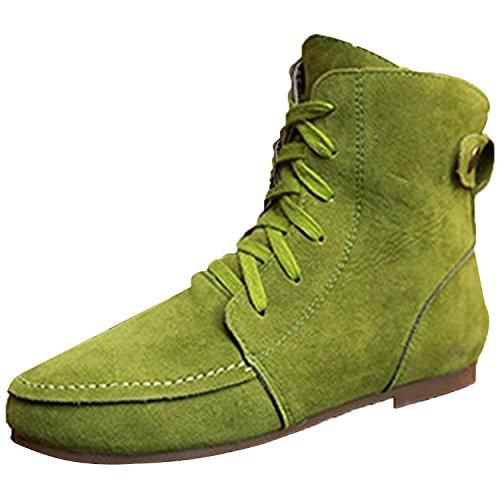 Minetom Damen Kurz Schlupfstiefel Martin Schneestiefel Outdoor Boots Warme Gefütterte Schnürstiefeletten Flache Schuhe Grün Baumwolle