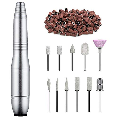 Professional Nail Drill Machine 20000RPM Electric Nail File Portable Handpiece File Grinder Manicure Pedicure Polishing Shape Tools Design for Home Salon, Silver