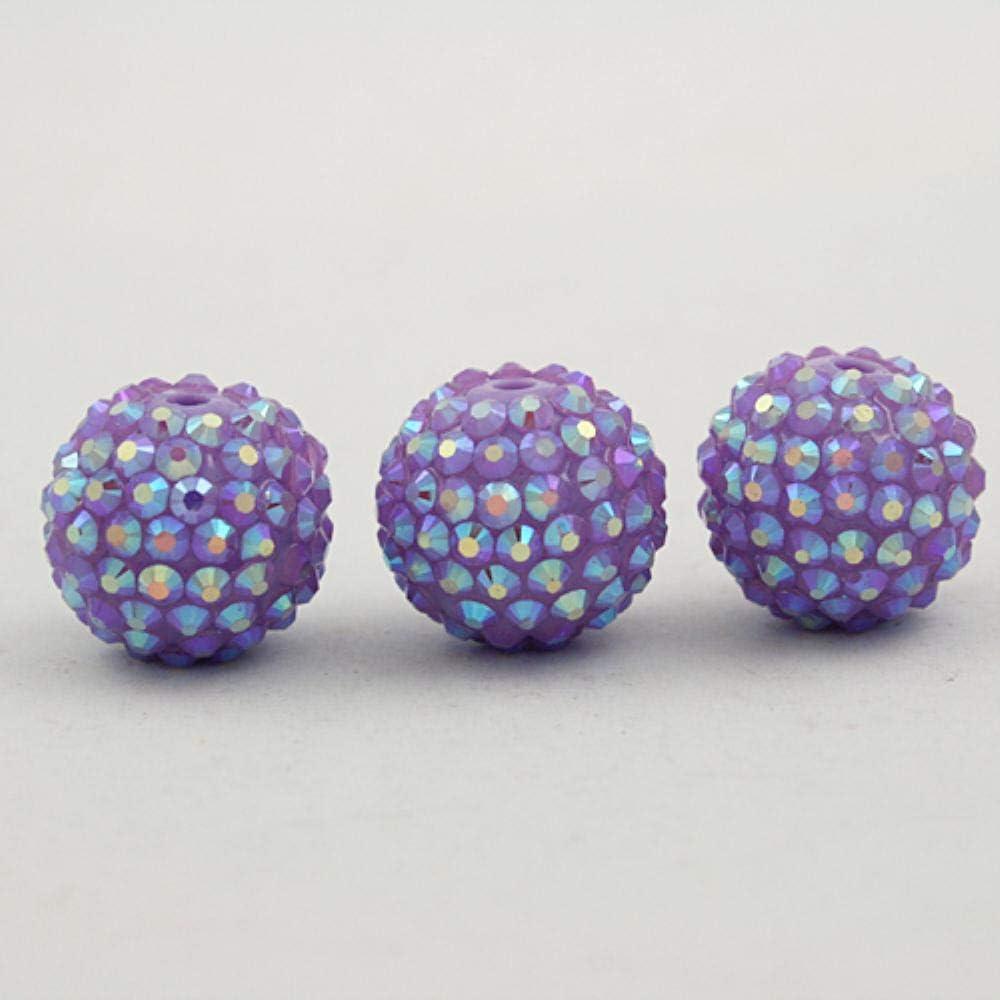 Cuentas redondas de resina, 12 mm, 14 mm, 16 mm, 18 mm, 20 mm, cuentas redondas de resina, para bricolaje, collar, pulsera y joyería, Morado claro., 20mm 5pcs