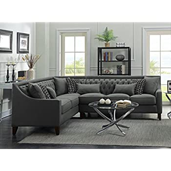 Iconic Home FSA2677-AN Aberdeen Chic Home Linen Tufted Down Mix Modern Contemporary Left Facing Sectional Sofa, Grey