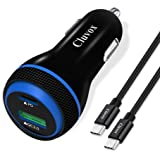 Cluvox Fast USB C Car Charger, 25W PPS PD&18W QC 3.0 Super Fast Automobile Charger Compatible for Samsung Galaxy Note 20…