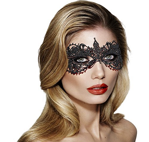 Women's Fancy Crochet Lace Masquerade Party Costume Dnace Ball Eye Mask (2 Piece) ()