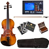 Cecilio CVA-500 Ebony Fitted Flamed Solid Wood Viola with Tuner, Case, Bow, Rosin, Bridge and Strings, Size 13-Inch