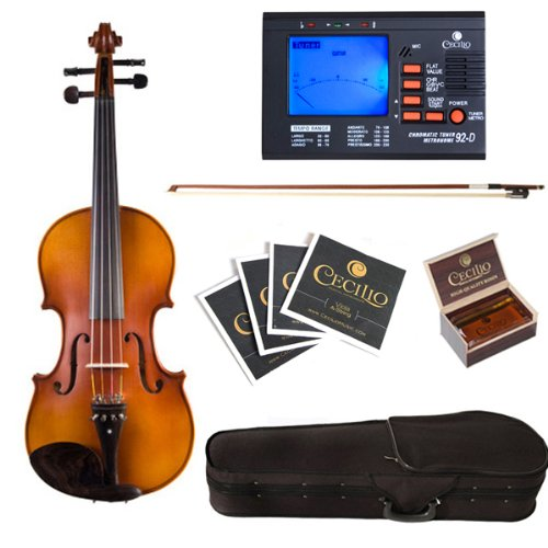 Cecilio CVA-500 14-Inch Ebony Fitted Solid Wood - Electric Viola 14 Inch