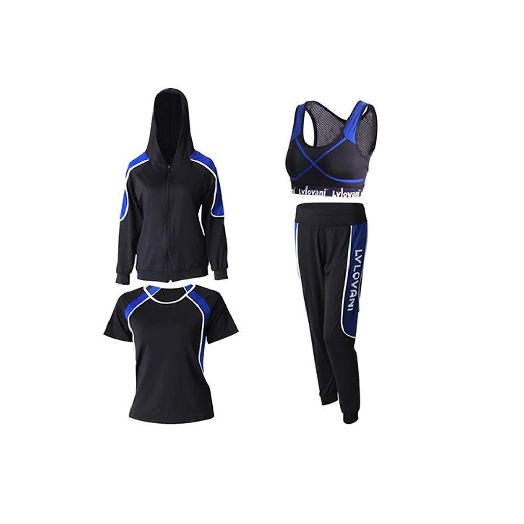 Lilongjiao Frauen Sportbekleidung Yoga Wear Sportbekleidung Mit Kapuze Reißverschluss Sweatshirt Yoga Wear Laufen Sportbekleidung Fitness Wear (Four Set)