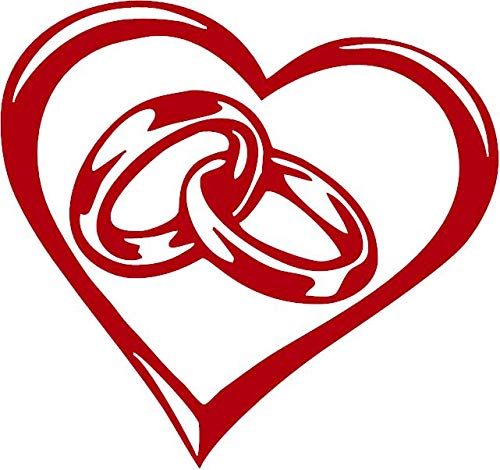 Wedding Rings in Heart Vinyl Decal Sticker for Window ~Car ~Truck ~Boat ~Laptop ~iPhone ~Wall ~Motorcycle ~Gaming Console~ Size 4