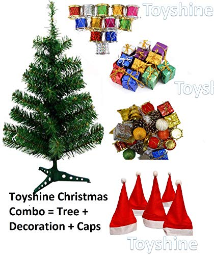 Toyshine Christmas Tree Celebration Combo | 3 Ft Tree + 48 Pcs Decoration + 10 Christmas Caps Free Size