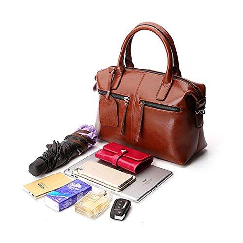 Shoulder Casual Bag Sansji Color Ladies' Brown Handbag Single Leather Leather Bag 2018 Pure Fashion Genuine 8a08r7q