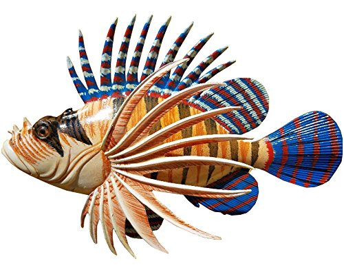 "Awesome Acrylic Resin 12"" x 8"" Long Lion Fish Wall Decor Hanging with Hanger on Back"