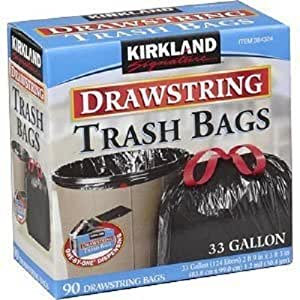 kirkland signature drawstring trash bags 33 gallon xl size 90 count pack home. Black Bedroom Furniture Sets. Home Design Ideas
