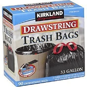 Kirkland Signature Drawstring Trash Bags   33 Gallon   Xl Size   180 Count  Pack (