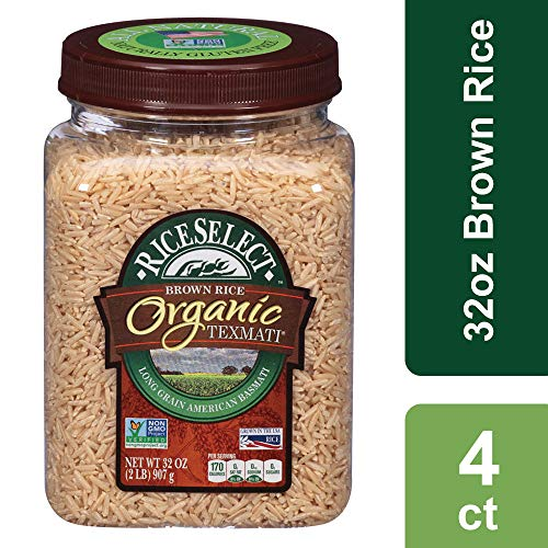 RiceSelect Organic Texmati Brown Rice, 32 oz Jars (Pack of 4)