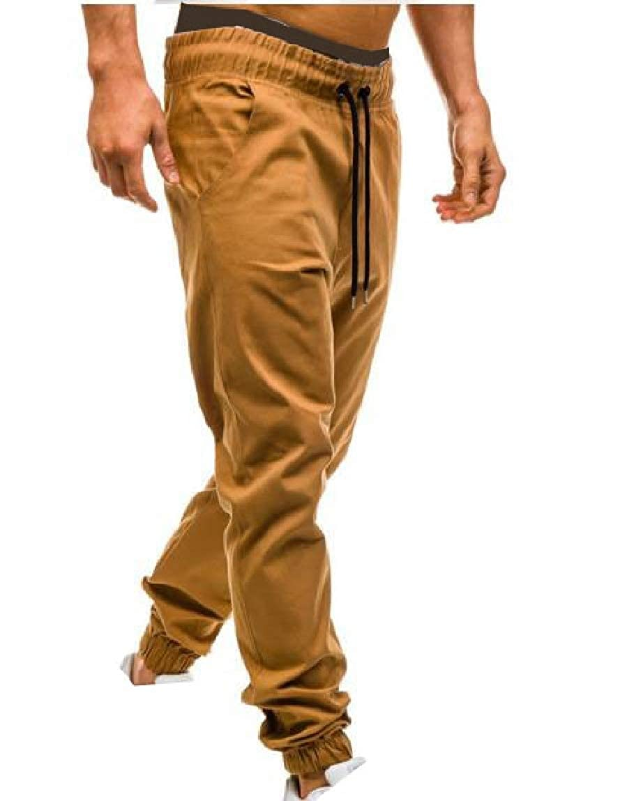 Mfasica Mens Beam Foot Fitted Drawstring Haren Pants Elastic Waist Casual-Pants