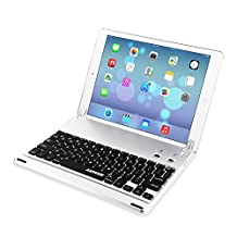 Arteck Ultra-Thin Apple iPad Air 2 / 9.7-inch iPad Pro Bluetooth Keyboard Folio Case Cover with Built-In Stand Groove for Apple iPad Air 2 with 130 Degree Swivel Rotating-Silver