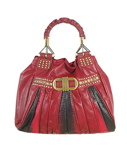 Authentic Brangio Two Tone Studded Handbag Purse with Ruched Handles: LC7842-RED - Ruched Large Purse