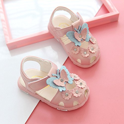 Zhhlinyuan Fashion Baby Girls Shoes Soft PU Leather Soft-Soled Soles Pink