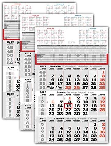3 Stück - 3 Monats Wandkalender 2020 mit Datumschieber in Rot, inkl. Ferienübersichten und Jahresüberblick 2020 und 2021, Dreimonatskalender, 3 Monatskalender keine Werbung