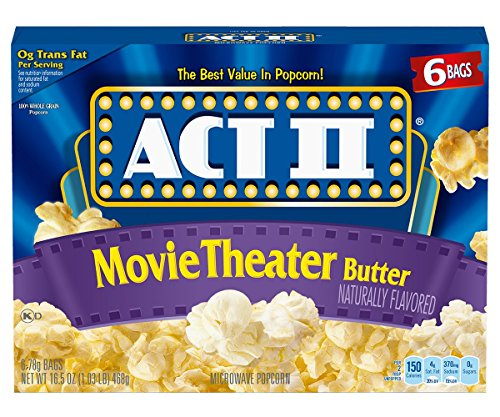 Act II Popcorn, Movie Theater Butter, 2.75 oz. Bags, 6 Count (Pack of 6) - Act Ii Microwave Popcorn