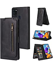Miagon Multi-Functional Zipper Wallet Case for Samsung Galaxy M31,Magnetic Handbag Dual Folio Leather Stand Flip Case Cover with 9 Card Slots Wrist Strap,Black