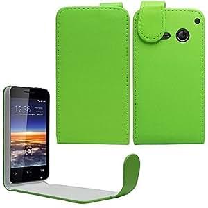 Sleek Gadgets–verde funda de piel con tapa para Vodafone Smart 4Mini