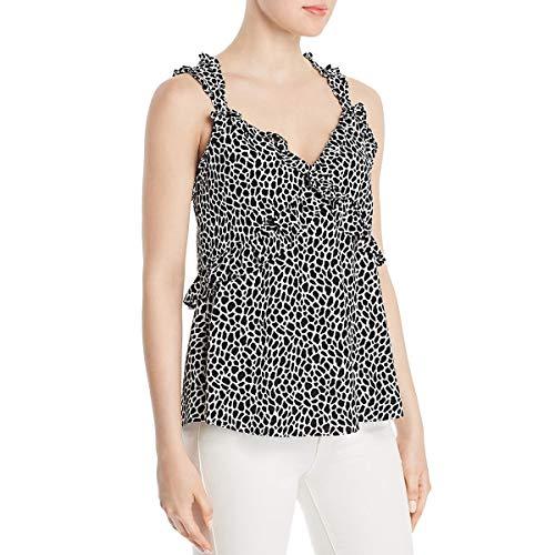 Michael Michael Kors Womens Ruffled Animal Print Camisole Top B/W S White/Black