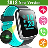 iGeeKid Fitness Activity Tracker Watch for Men Women with Bluetooth Heart Rate Blood Pressure Sleep Monitor Sport Wristbands Pedometer Calorie for Summer Travel Outdoor Running Android iOS Blue