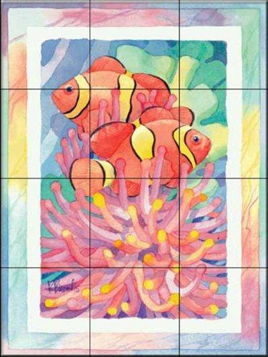 Ceramic Tile Mural - Anemone Clownfish - by Paul Brent - Kitchen backsplash/Bathroom -