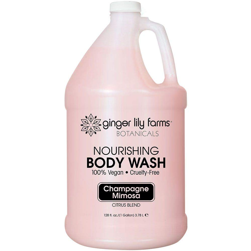 Ginger Lily Farms Botanicals Champagne Mimosa Nourishing Body Wash, Softens, Nourishes and Cleans Skin, Natural Spa Quality, 100% Vegan and Cruelty-Free, 1 Gallon