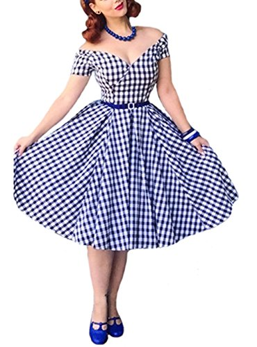- Daisy Del Sol Gingham Print Retro Style A Frame Checker Dress with Belt (Blue, Small)