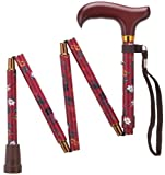 Harvy Canes Women's Ladies Mini-Folding Derby Handle Cane - Fuchsia