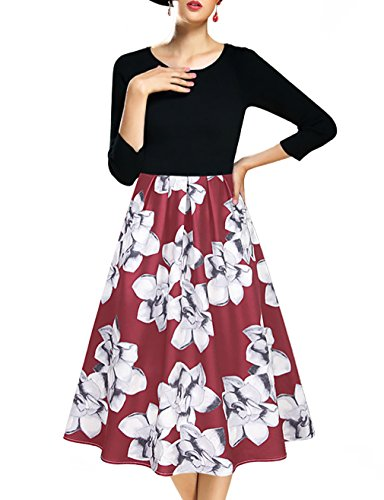 Red Long Sleeve Dress,Laksmi Womens Vintage 1950's Floral Empire Waist Evening Homecoming Dress(XXL Wine)