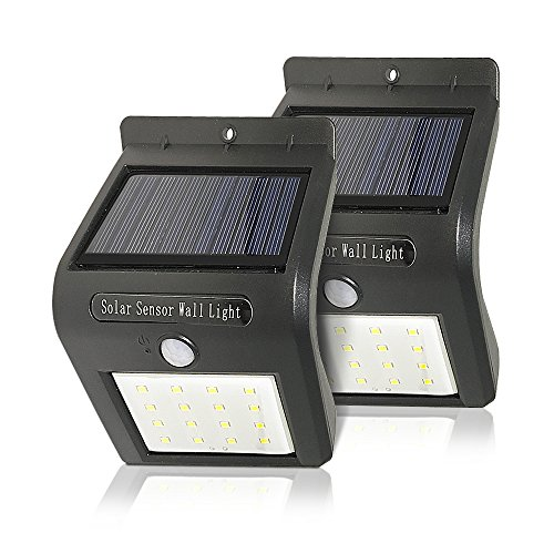 KYD Solar Lights 16 LED Wireless Waterproof Motion Sensor Outdoor Light for Patio, Deck, Yard, Garden with Motion Activated Auto On/Off (2-Pack)