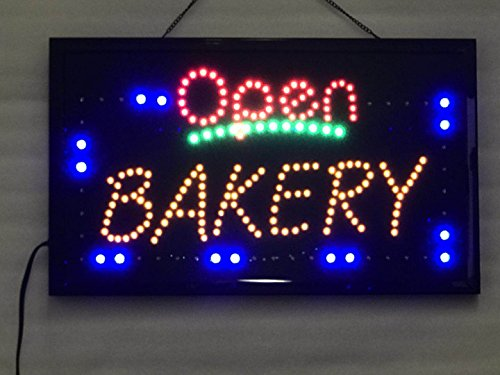 UPSUN Neon Sign OPEN,LED business open sign advertisement board Electric Display Sign, Two Modes Flashing & Steady light, for business, walls, window, shop, bar, hotel(Bakery)
