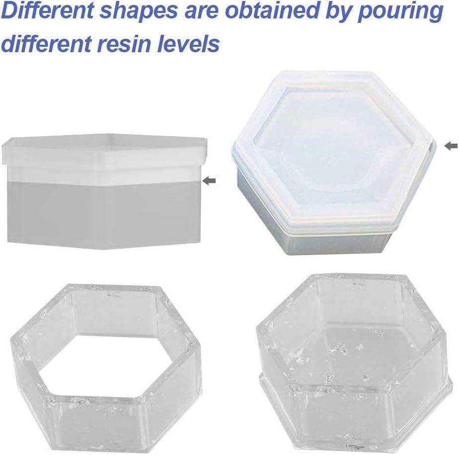 Herzform Hexagon und quadratische Harz-Form mit Deckel f/ür Dekoration Bestine 3 St/ück Harz-Silikon-Formen Basteln Schmuck-Aufbewahrungsbox-Formen