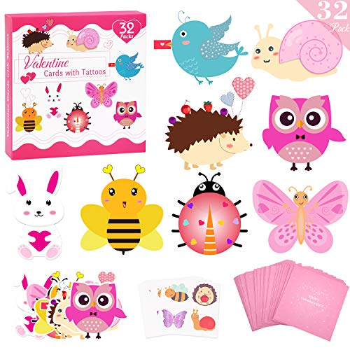 Tattoo Valentines Cards (Valentines Day Cards for Kids 32 Packs with Temporary Tattoos and Pink Envelopes, Animal Valentines Day Greeting Cards, Kids Valentines Day Exchange Cards for Classroom School Supplies Party)