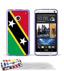"""Carcasa Flexible Ultra-Slim HTC ONE / M7 de exclusivo motivo [Bandera Kitts y Nevis Santo] [Violeta] de MUZZANO  + 3 Pelliculas de Pantalla """"UltraClear"""" + ESTILETE y PAÑO MUZZANO REGALADOS - La Protección Antigolpes ULTIMA, ELEGANTE Y DURADERA para su HTC ONE / M7"""