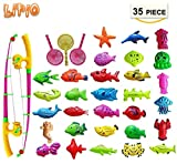 LIPIO Colorful Tropical Fish Magnetic Floating Fishing Toy-30 pcs Durable Plastic Fishes, 2 pcs Fishing Pole and 3 pcs Fishing net-Learning Education Toys for Kids, Fishing Game for Kids Party Favors
