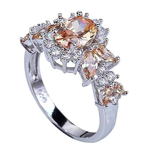 YAZILIND Elegant Round Champagne Cubic Zirconia Silver Engagement Women Wedding Ring Size9 - Big Stone Ring