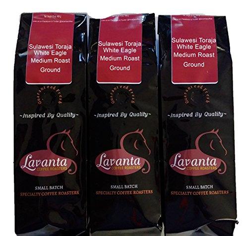 Lavanta Coffee Roasters, 3 Pack Sulawesi Toraja White Eagle Medium Ground