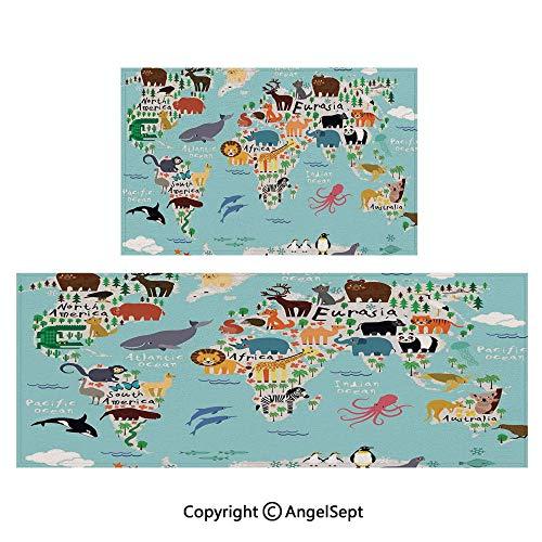 (Compatible Floor Mats 2piece Suit,Educational World Map Africa Camel America Lama Alligator Ocean Australia Koala Print Decorative 16