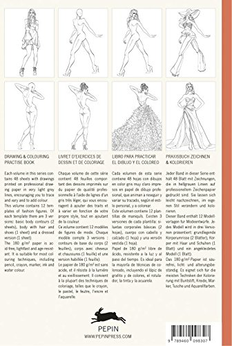 Fashion: Drawing & Colouring Practise Book (English, Spanish, French and German Edition)