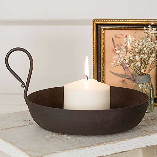 Country Decor Gravy Pan Candle Dish in Rustic Brown,9.5