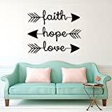 CUGBO Wall Decals Faith Hope Love Family Wall Quotes Bible Verses Arrow Art Mural Psalms Vinyl Stickers Bedroom Living Room Decor