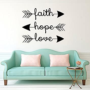 Amazoncom Cugbo Wall Decals Faith Hope Love Family Wall Quotes