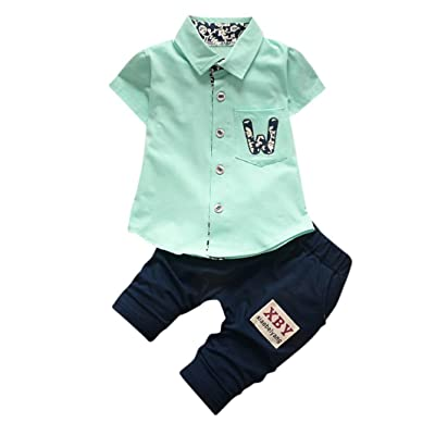 733c2fab3bb Leedford 2Pcs Set Toddler Kids Baby Boy Turn-Down Collar T-Shirt Tops Pants  Trousers Outfits Clothes