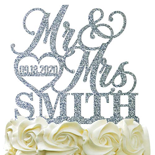 Personalized Wedding Cake Topper - Wedding Cake Decoration Elegant Customized Mr-Mrs, Last Name & Date With HeartGlitter -