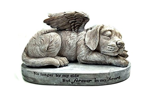 Bellaa Dog Memorial Pet Statue Sleeping Angel with Wings Garden Sculpture (Puppy Dog Garden Sculpture)