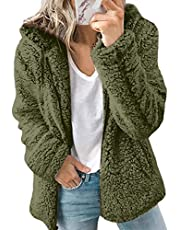 Dames Teddy Bear Jassen Winter Warme Hoodies Zip Up Plain Jas Fleece Hooded Jumper Sweatshirt