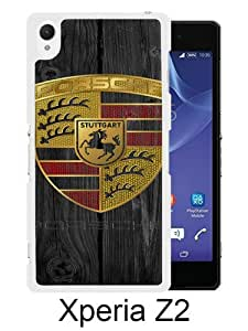 Sony Xperia Z2 case,Unique Design Porsche logo White cell phone case for Sony Xperia Z2