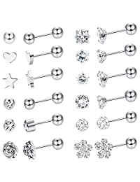 LOYALLOOK 8 Pairs Stainless Steel Ball Stud Earrings Barbell Cartilage Helix Ear Piercing 3-6mm 2 Colors